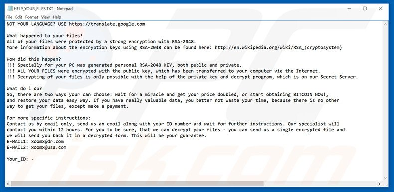 archivo HELP_YOUR_FILES.TXT del ransomware .Code