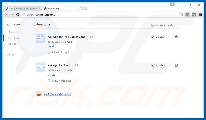Eliminando los anuncios Social2Search de Google Chrome paso 2