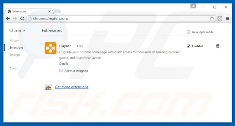 Eliminando las extensiones relacionadas con play-bar.net de Google Chrome