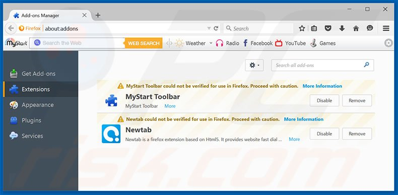 Eliminando los anuncios de Do Not Ignore This Windows Alert de Mozilla Firefox paso 2