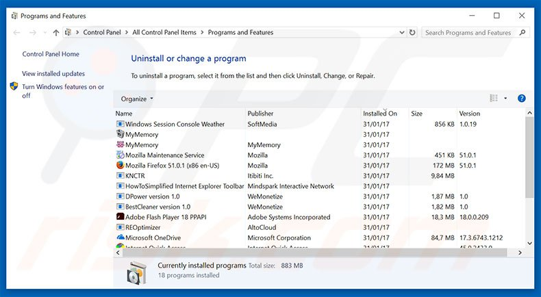 desinstalar el adware Do Not Ignore This Windows Alert del Panel de control