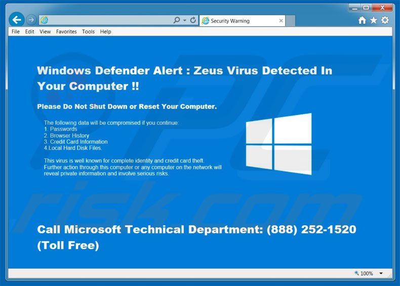 Windows Defender Alert adware