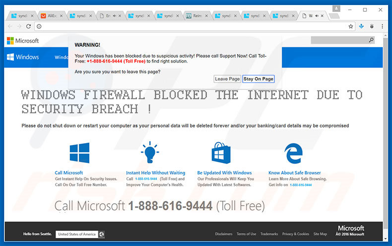 WARNING! Your Windows Has Been Blocked adware