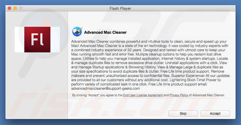 Instalador engañoso usado para promocionar Advanced Mac Cleaner