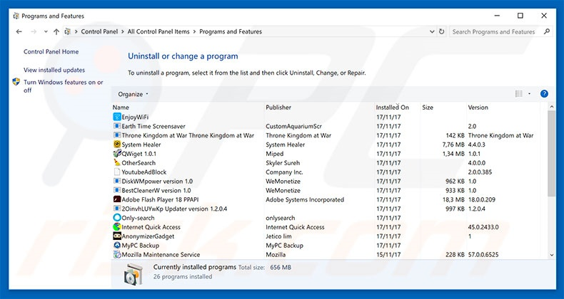 desinstalar el adware System Activation Key Has Expired del Panel de control