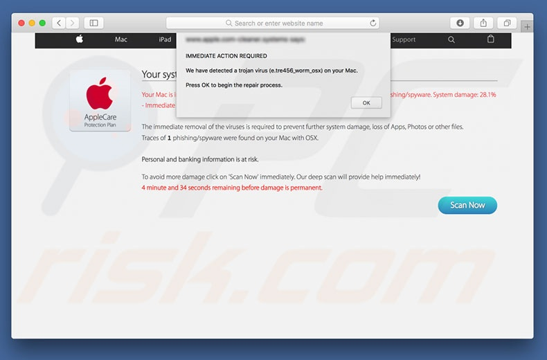estafa Virus Found Apple Message