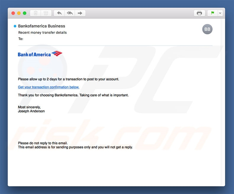 Bank Of America Email Virus malware