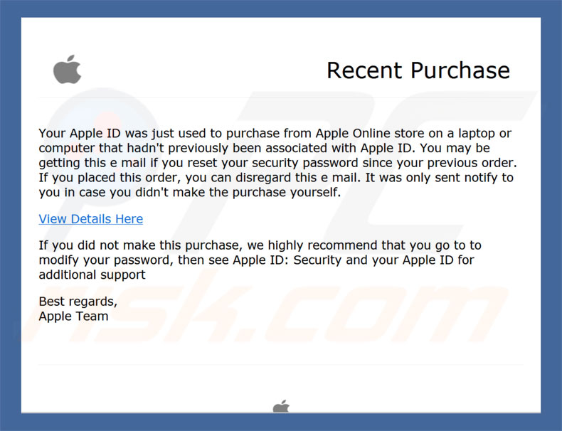 software malicioso por email Apple Recent Purchase