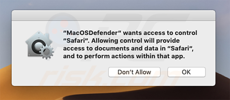 MacOSDefender mostrando el pop-up