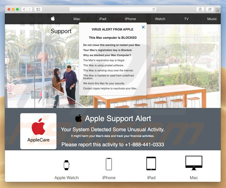 estafa en ventana emergente Apple Support Alert (ejemplo 2)