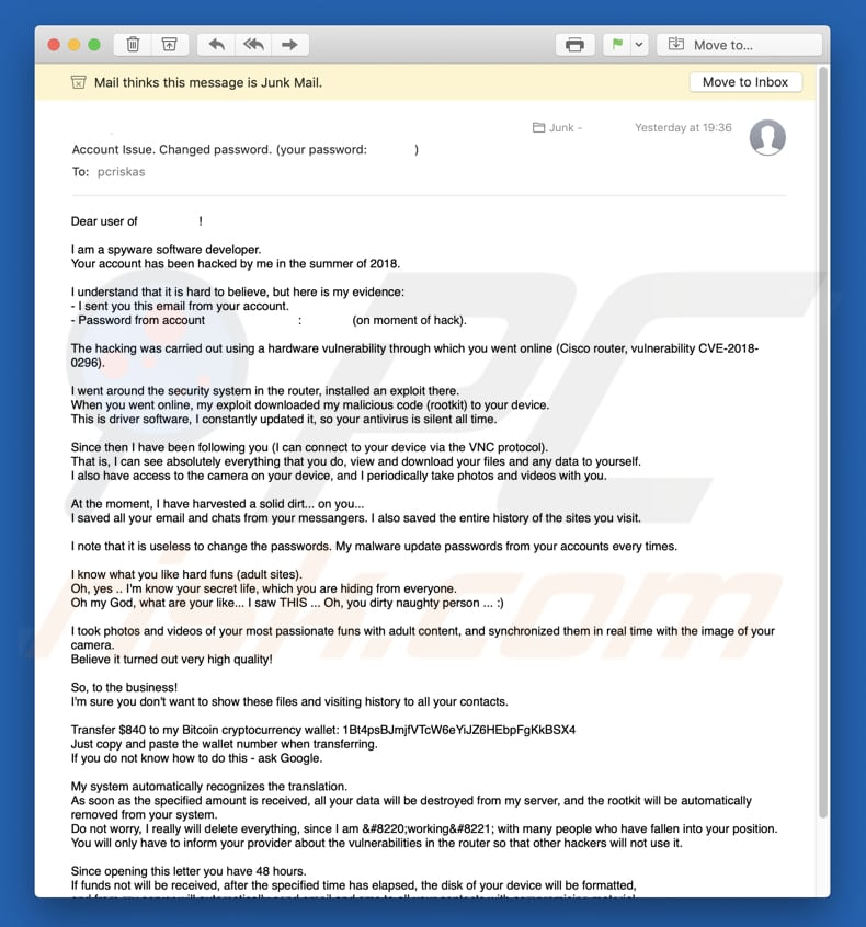 campaña fraudulenta I am a spyware software developer Email