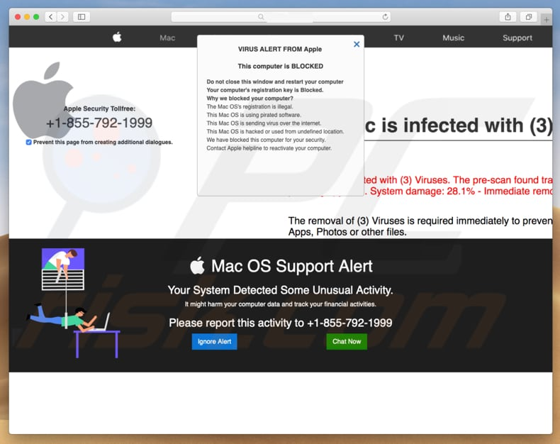 estafa Mac OS Support Alert