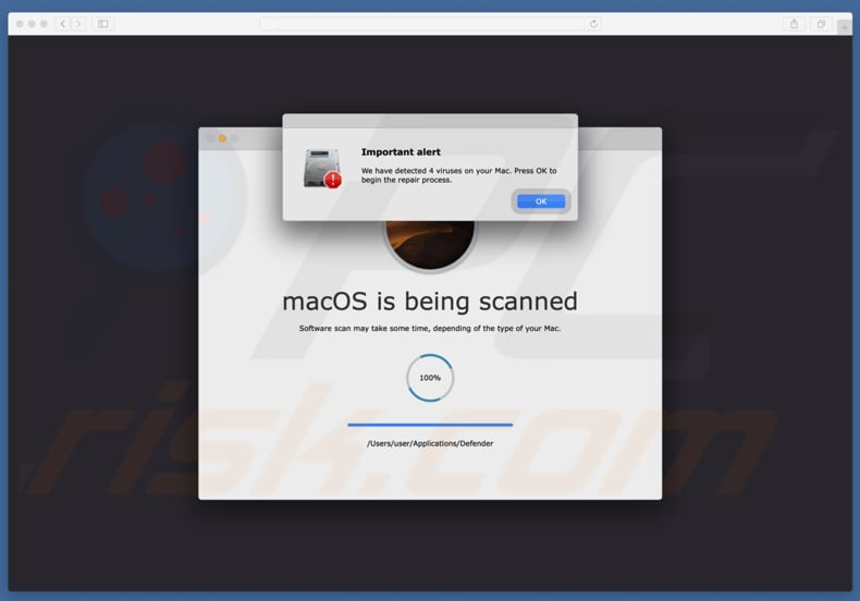 estafa Your Mac is infected with 4 viruses