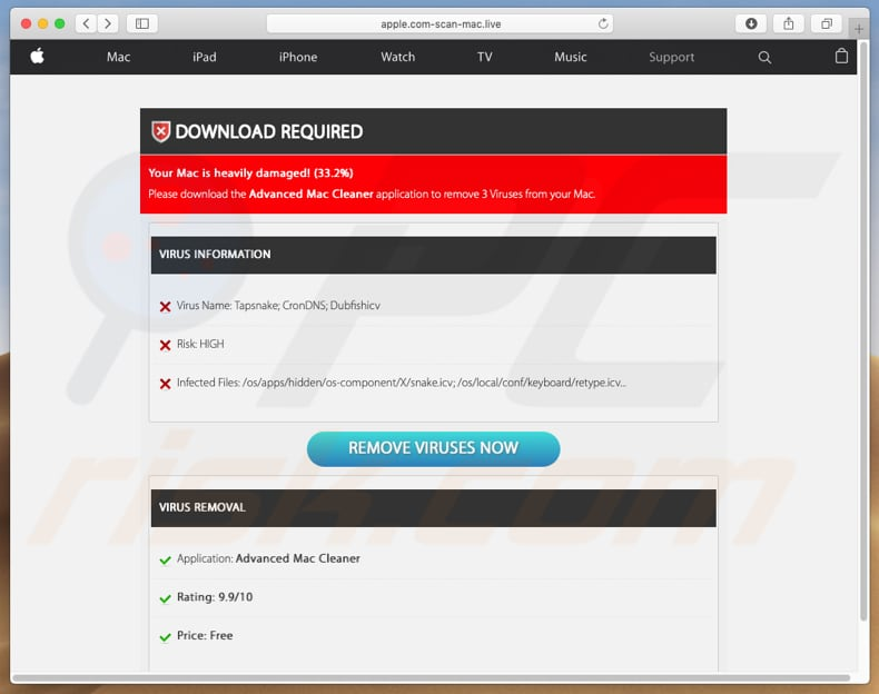 falsa detección de virus apple.com-scan-mac[.]live