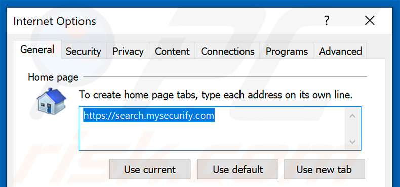 Eliminando search.mysecurify.com de la página de inicio de Internet Explorer