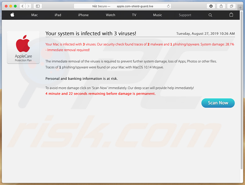aspecto de la segunda página de apple.com-shield-guard[.]live