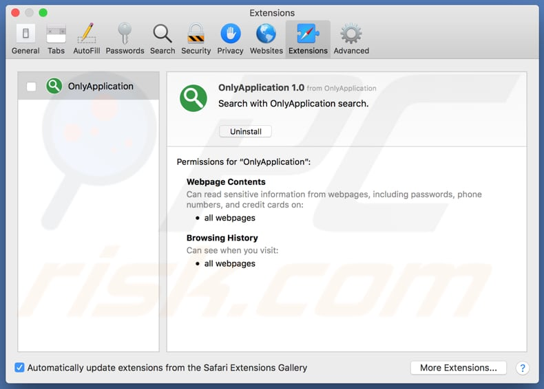 Extensión OnlyApplication para Safari