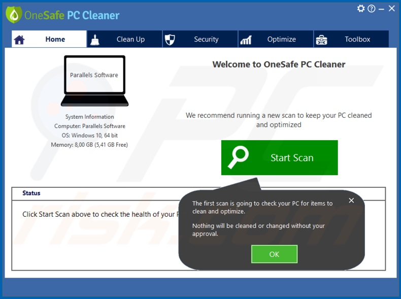 Aplicación no deseada OneSafe PC Cleaner