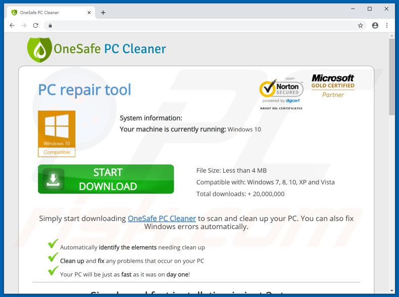 Aplicación OneSafe PC Cleaner