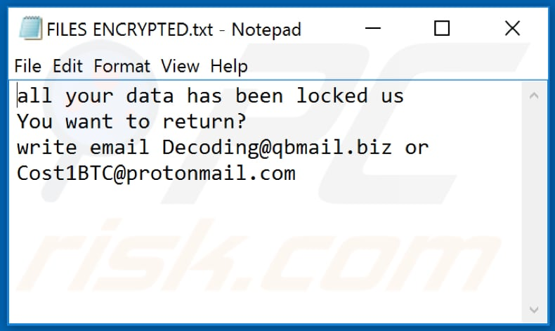 Archivo de texto de ransomware IPM (FILES ENCRYPTED.txt)