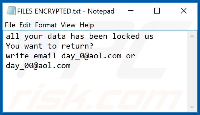 Archivo de texto del ransomware 0day0 (FILES ENCRYPTED.txt)