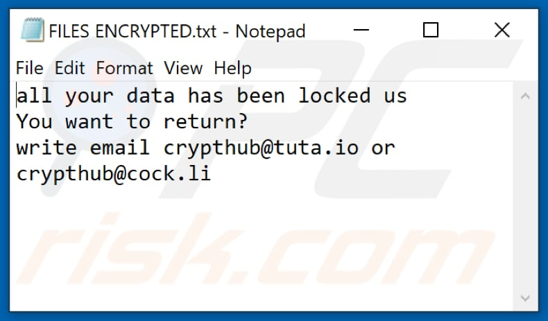 Archivo de texto del ransomware Hub (FILES ENCRYPTED.txt)