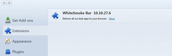 Eliminar la barra White Smoke Toolbar de los navegadores: